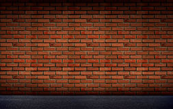 Old brick Block wall background and road floor Royalty Free Stock Photo