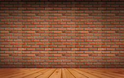 Old brick Block wall background and wood floor Stock Photography