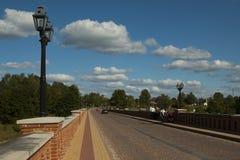 Old Brick bridge across the River Venta in the city of Kuldiga Royalty Free Stock Photo
