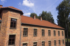 An old brick building in Auschwitz I camp Stock Photos