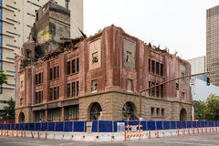 Old Brick Building Being Demolished in downtown Portland OR Royalty Free Stock Photos