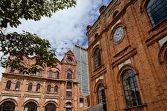 Old Brick building at Bogota. BOGOTA,COLOMBIA-JUNE 15,2016: Classic brick buildings at `Parque Central Bavaria` complex at Bogota Stock Image