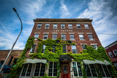 Old brick building in downtown Nashua, New Hampshire. Royalty Free Stock Photo