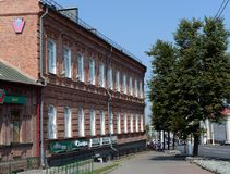 The old brick building on Lenin Street in the city of Vitebsk. Stock Photos