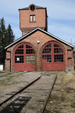 Old brick building locomotive depot Stock Images