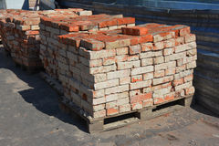 Old Brick building material on the construction site outdoor. Royalty Free Stock Photos
