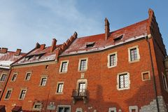 Old brick building of Wawel castle Stock Photos