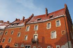 Old brick building of Wawel castle stock photos