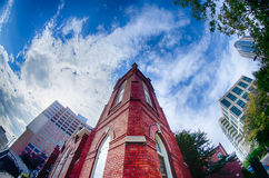 Old brick church abuilding in  city Stock Images