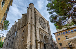 Old brick church Mare de Deu Betlem in Barcelona, Spain Stock Image