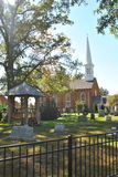 Old brick church with steeple Stock Images
