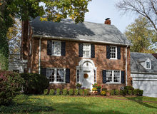 Old Brick Country Home in Autumn Stock Photo