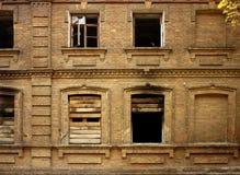 Old brick destroyed house burned down Stock Images