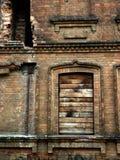 Old brick destroyed house burned down Stock Image