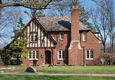 Old Brick English Tudor House with Slate Roof Royalty Free Stock Photography
