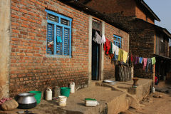 Old brick farm in Bandipur. Bandipur, Nepal, is a hilltop settlement in Tanahu District. Because of its preserved, old time cultural atmosphere, Bandipur has Stock Photography