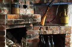 The old brick fireplace Stock Image