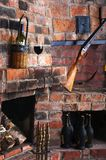 The old brick fireplace Royalty Free Stock Images