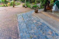 Old brick footpath background walk way. Stock Image