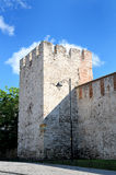 Old brick fortress wall and fortress tower Royalty Free Stock Image