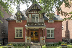 Old brick. House in Westmount, Quebec, Canada. Westmount is an affluent suburb on the Island of Montreal, in southwestern Quebec, Canada. It is an enclave of royalty free stock photos