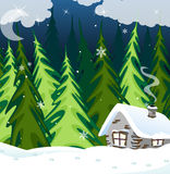 Old brick house in the winter wood. Small house with illuminated windows in the winter forest vector illustration