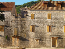 Old brick houses. With shuttered windows in adriatic sity Stock Photos