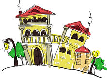 Old brick houses. Painted in the style of a children's. vector illustration vector illustration