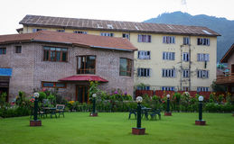 Old brick houses with garden in Srinagar, India stock photography
