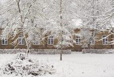Old brick mansion in Winter season royalty free stock photos