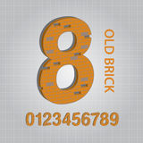 Old Brick Numbers Vector Royalty Free Stock Photography
