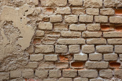 Old brick ochre painted wall. Background texture Royalty Free Stock Photography