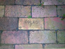 Old brick paving. With Makers mark - Colac F Stock Photos