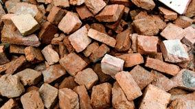 Old brick. Pile of broken orange old brick, selective focus stock images