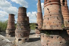 Old brick pipes of factory in Ruskeala, Karelia republic, Russia Royalty Free Stock Photography
