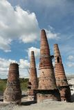 Old brick pipes of factory in Ruskeala, Karelia republic, Russia. Old brick pipes of abandoned marble factory in Ruskeala, Karelia republic, Russia royalty free stock photography