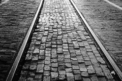 Old brick and rail road tracks. A picture of the old brick and rail road tracks at the stock yards in Fort Worth Texas stock images