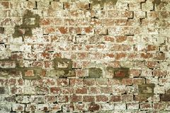 Old brick red and white wall texture background royalty free stock photo