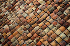 Old brick roof tiles Royalty Free Stock Photos