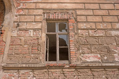 Old brick ruin wall with window Royalty Free Stock Photography
