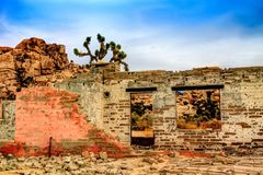 Old Brick Ruins at Joshua Tree. Very textured ruins in the center of Joshua Tree National Park stock images