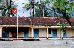 An old brick school in Xin Man town, northern Vietnam Royalty Free Stock Photography
