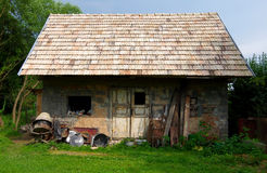 Old brick shanty. And terrible mess around it royalty free stock photos