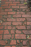 Old Brick Sidewalk. Old, worn brick sidewalk leading to a lighthouse stock image