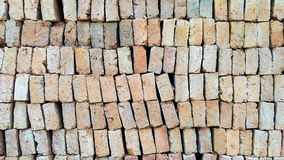 Old brick. Stack of orange old brick, selective focus stock photo
