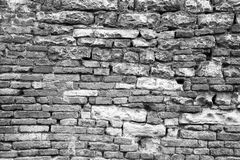 Old brick and stone wall. Old brick and stone wall, black and white Royalty Free Stock Photography