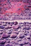 Old brick and stone wall, Ultra Violet color toned. Old brick and stone wall, Ultra Violet color toned image Stock Images