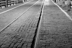 Old brick and tracks. A picture of the old brick and rail road tracks at the stock yards in Fort Worth Texas royalty free stock image