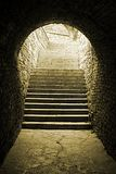 Old Brick Tunnel. Light at the end of the tunnel Royalty Free Stock Images