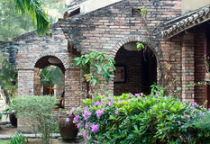 Old brick villa and wall Royalty Free Stock Photo